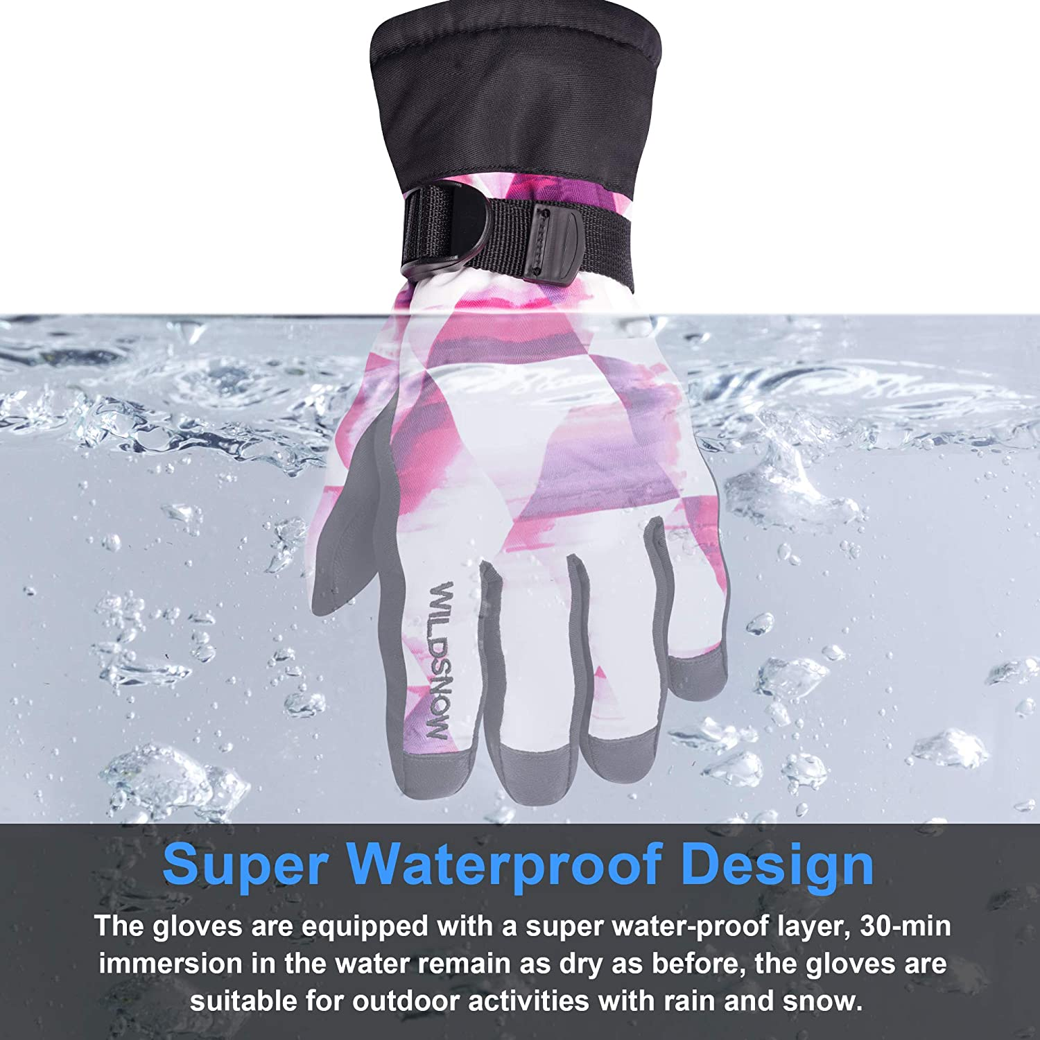 Water-Resistant and Windproof Gloves for boys and girls Aged 4-14 arteesol Boys Ski Mittens
