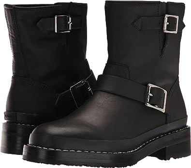 718729aefa61 Hunter Women s Original Leather Biker Boot Black Boot  Amazon.co.uk ...