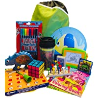 Travel Activity Bag Kit for Kids - Keep children busy on the airplane or in the car. For boys or girls age 6-12. Backpack toys games crafts travel cup and more. 20 piece bundle.