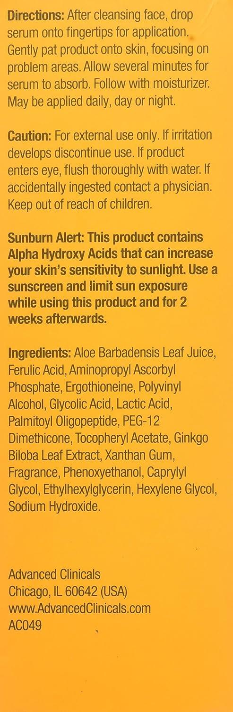 Advanced Clinicals Alpha Hydroxy Acid Skin Care Set. Anti aging set includes Alpha Hydroxy Acid Serum (1.75 Fl oz) & Alpha Hydroxy Acid Cream for Face
