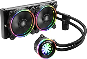 Enermax LIQFusion RGB 240mm Lighting Liquid CPU Cooler Dual 120mm T.B. RGB addressable M/B sync RGB fan, Exclusive RGB-sync waterblock with patented flow indicator design, ELC-LF240-RGB