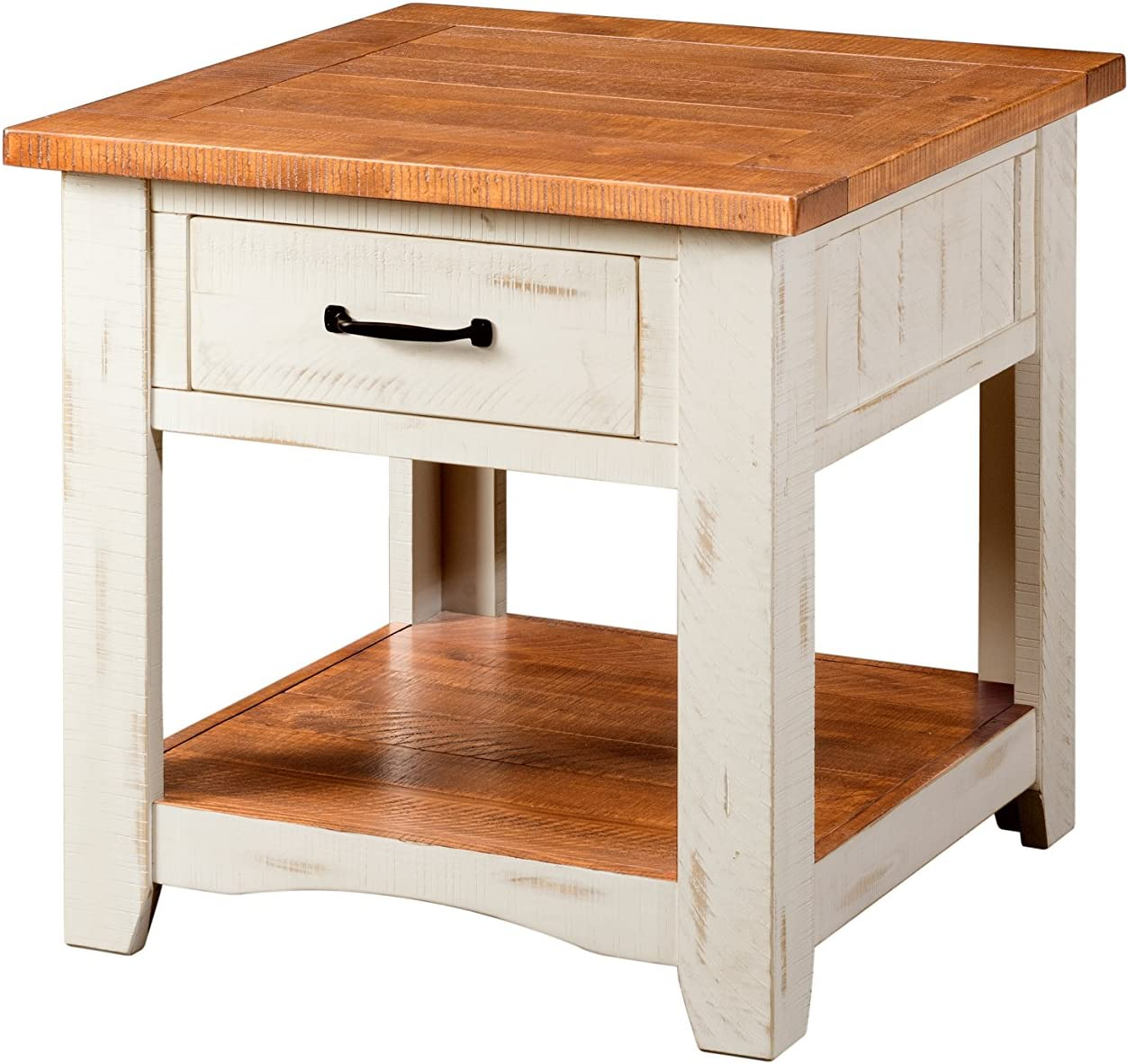 Martin Svensson Home Rustic End Table, Antique White and Honey Tobacco