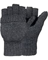 Korlon Winter Wool Knitted Convertible Fingerless Gloves with Mitten Cover