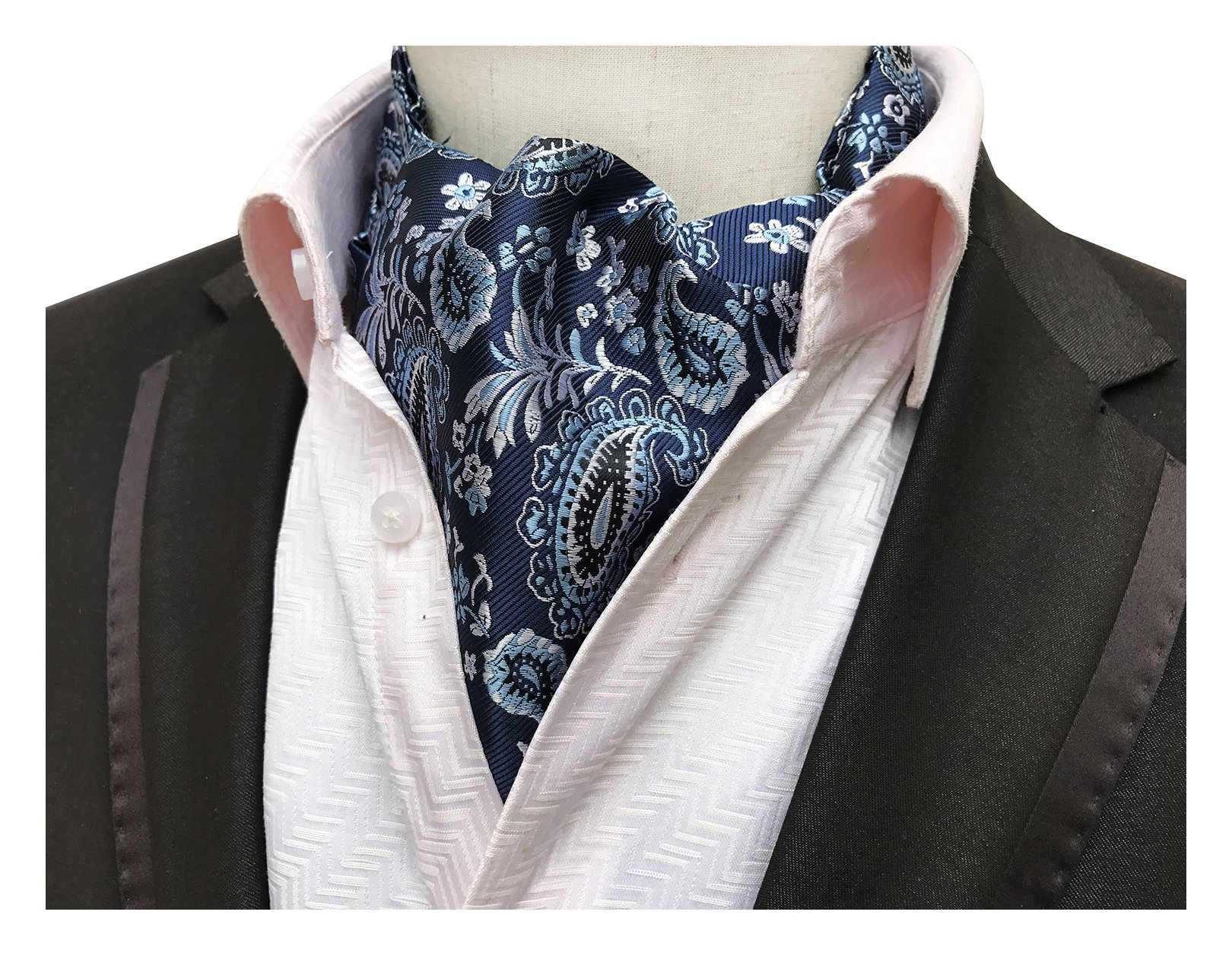 Elfeves Men's Navy Blue Silver Floral Silk Cravat Ties Fancy Ascot Gift Ideas