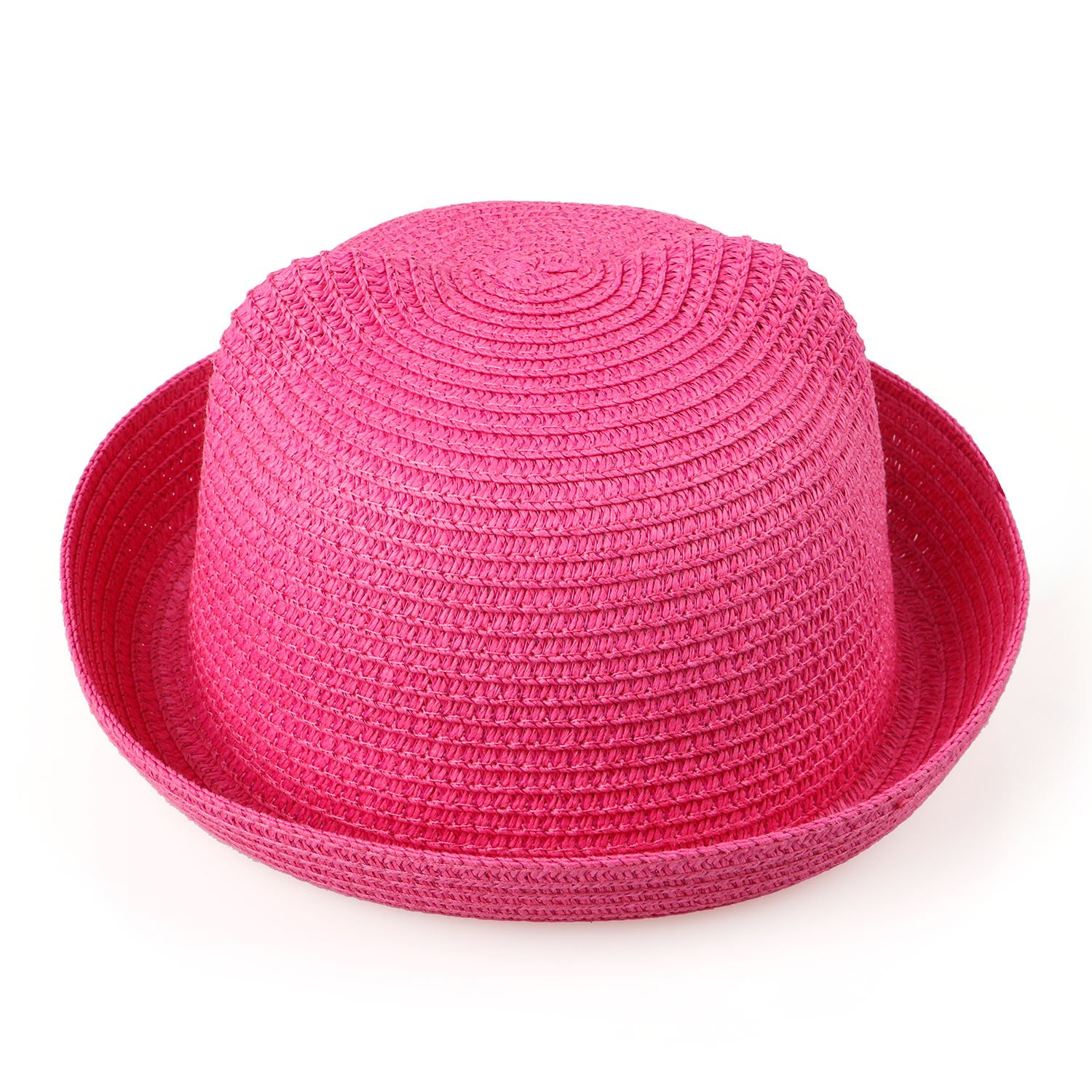 Kids Anti-UV Straw Sun Hat Cat Ear Summer Cap for Girl Boys Bucket Hat (Rose Red)