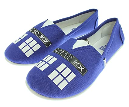 45a66a7868ee Amazon.com  Doctor Who Women s Blue Tardis Slip On Shoes  Clothing