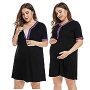SICILY Women's Plus Size Maternity Nursing Nightgown Pregnant Short Sleeve Labor Delivery Dress Hospital Breastfeeding Black