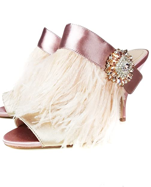 1fdbcb1141a Zara Women High heel mules with feather and brooch detail 5460 201 (37 EU