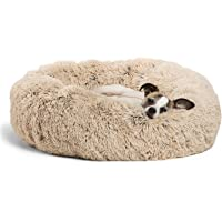 """Best Friends by Sheri DNT-SHG-TAU-2323-VP The Original Calming Donut Cat and Dog Bed in Shag Fur, Small 23""""x23"""" in Taupe…"""