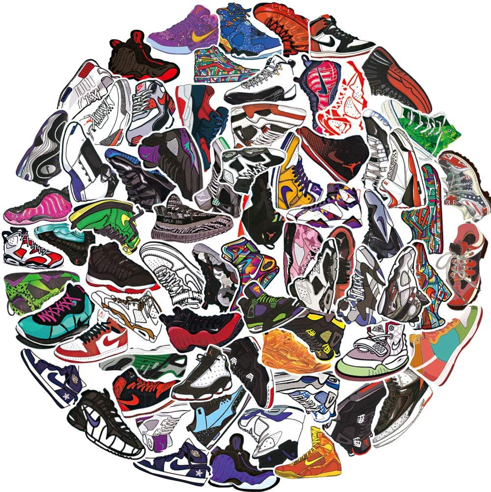 Basketball Shoes Stickers for Air Jordan,Fashion Brand Sneakers Stickers for Laptop Skateboard Motorcycle Guitar Snowboard Bicycle Computer Phone 100Pcs Pack