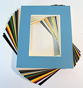 Pack of 25 Mixed Colors 5x7 Picture Mats Matting with White Core Bevel Cut for 4x6 Pictures