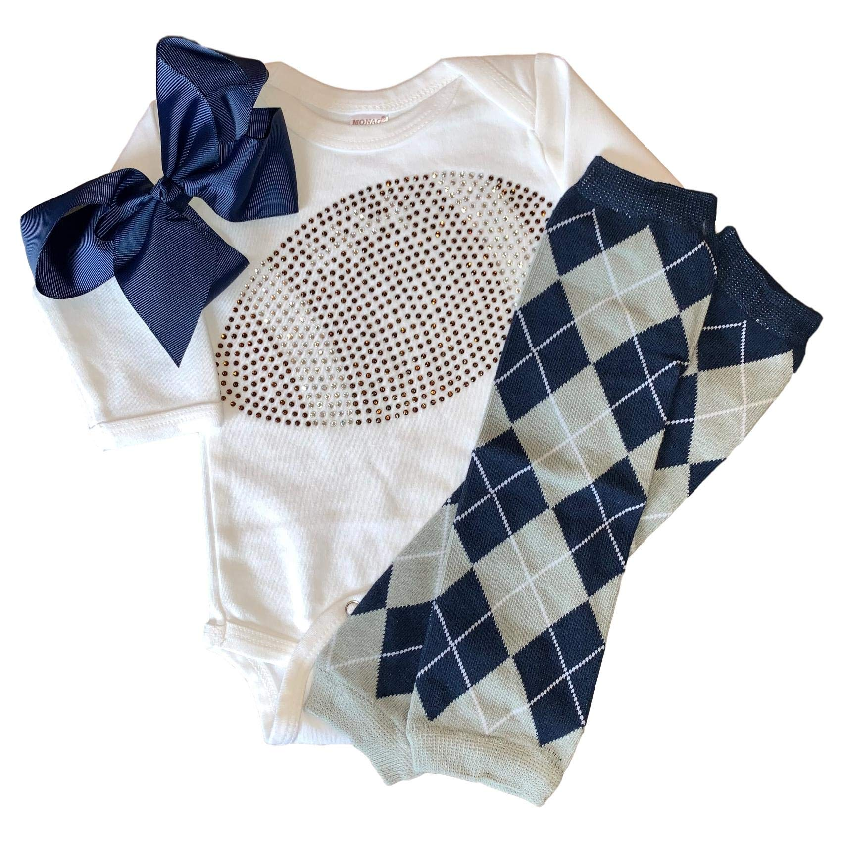 Infant/Baby Girl's Rhinestone Football Outfit w/Navy and Grey Argyle Leg Warmers 6-12mo by FanGarb