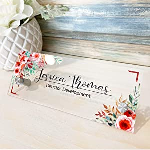 "Personalised Desk Name Plate Acrylic Wall Name Plate, Acrylic Sign Holder with Standoff Barrels, Custom Sign Door Name Plates for Office Home Classroom Teacher 3""x8"" - Women Flower"