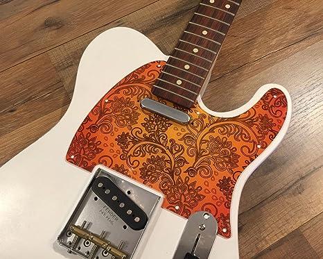 Guitarra partes personalizados Floral Paisley naranja Golpeador para Fender Telecaster estilo 8 agujero