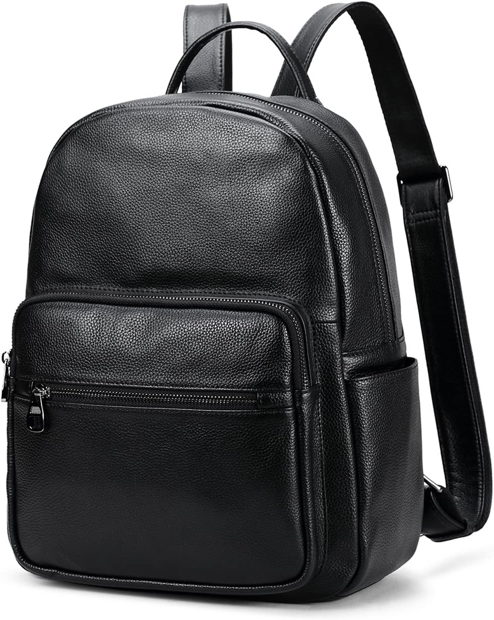 Coolcy Hot Style Real Leather Backpack Casual Daypacks Bag Black