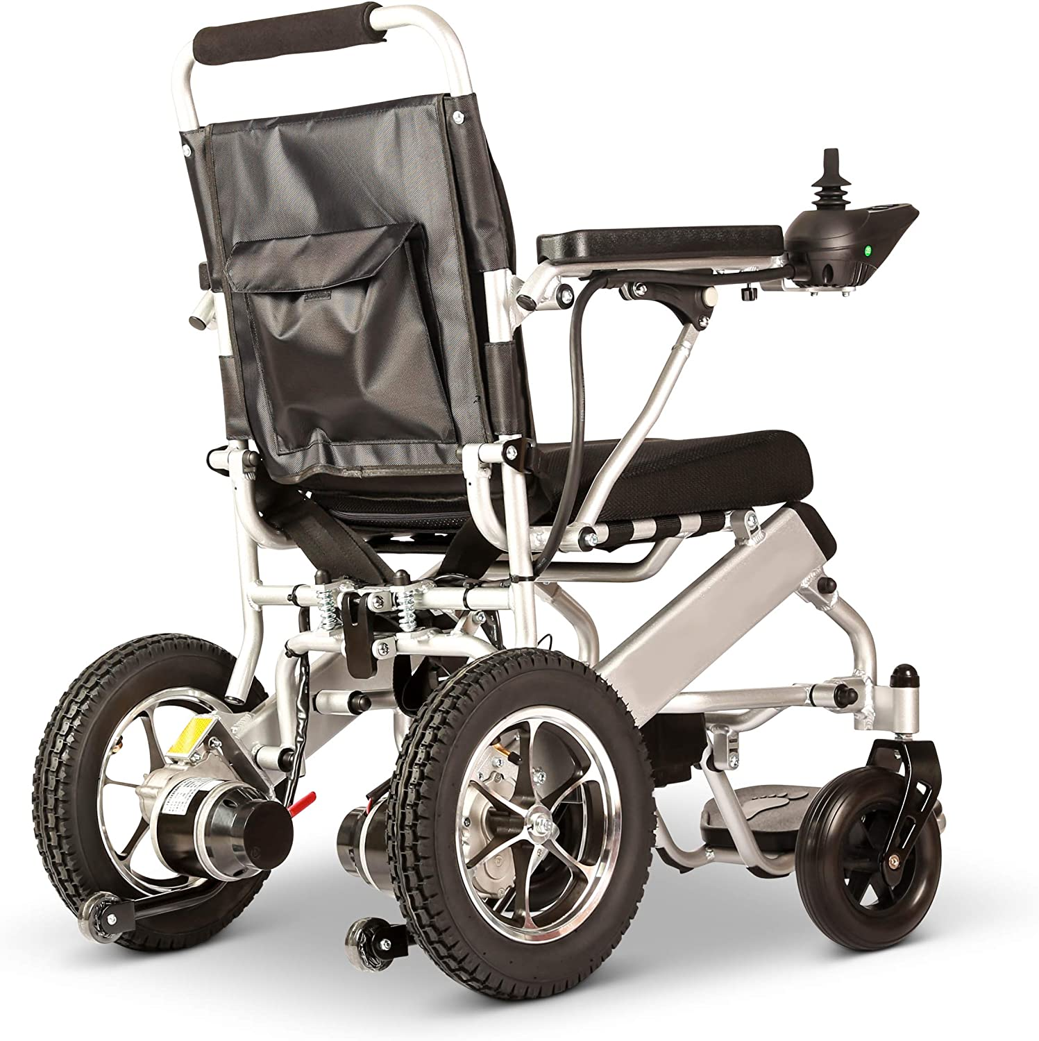 New Model 2020 Fold & Travel Lightweight Motorized Electric Power Wheelchair Scooter, Aviation Travel Safe Electric Wheelchair Heavy Duty Power Wheelchair (17 Inch Seat Silver)