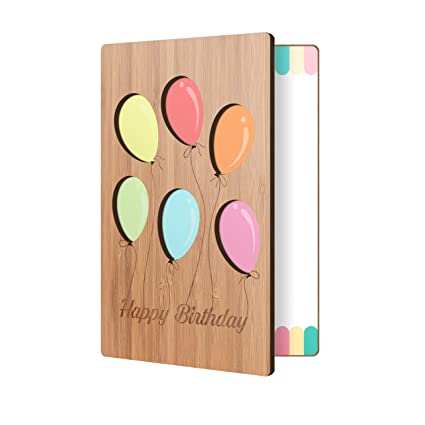 Amazon Bamboo Birthday Card With Balloon Design Premium Handmade Wood Perfect Way To Say Happy Cards For Men