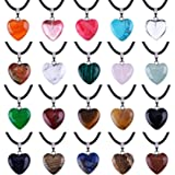 Outus 0.63 Inch Heart Stone Pendants Assorted Color Chakra Beads Crystal Charms with 18 Inch Black Braided Imitation Leather Cord Necklace Chain, 20 Pieces