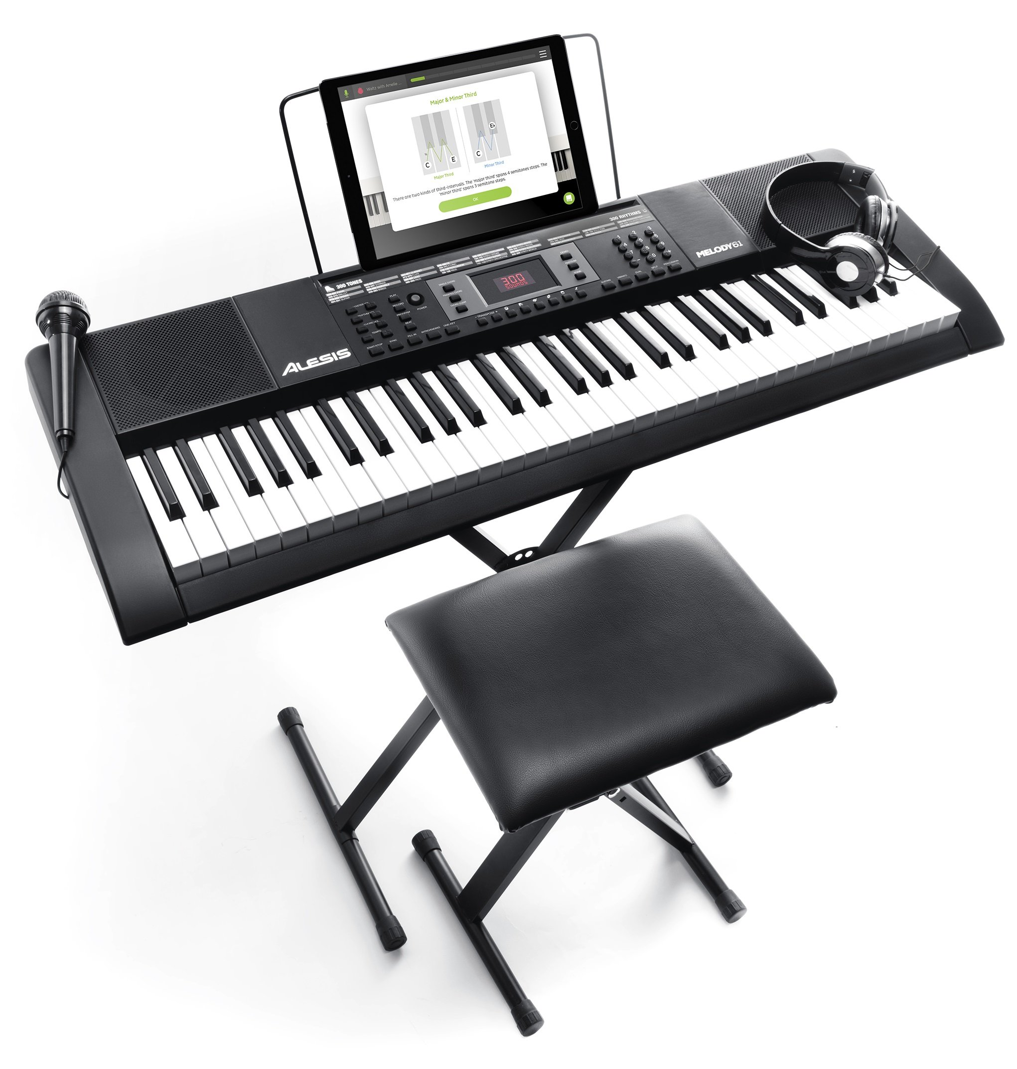 Alesis Melody 61 MKII | 61-Key Portable Keyboard with Built-In Speakers, Headphones, Microphone, Piano Stand, Music Rest and Stool. by Alesis