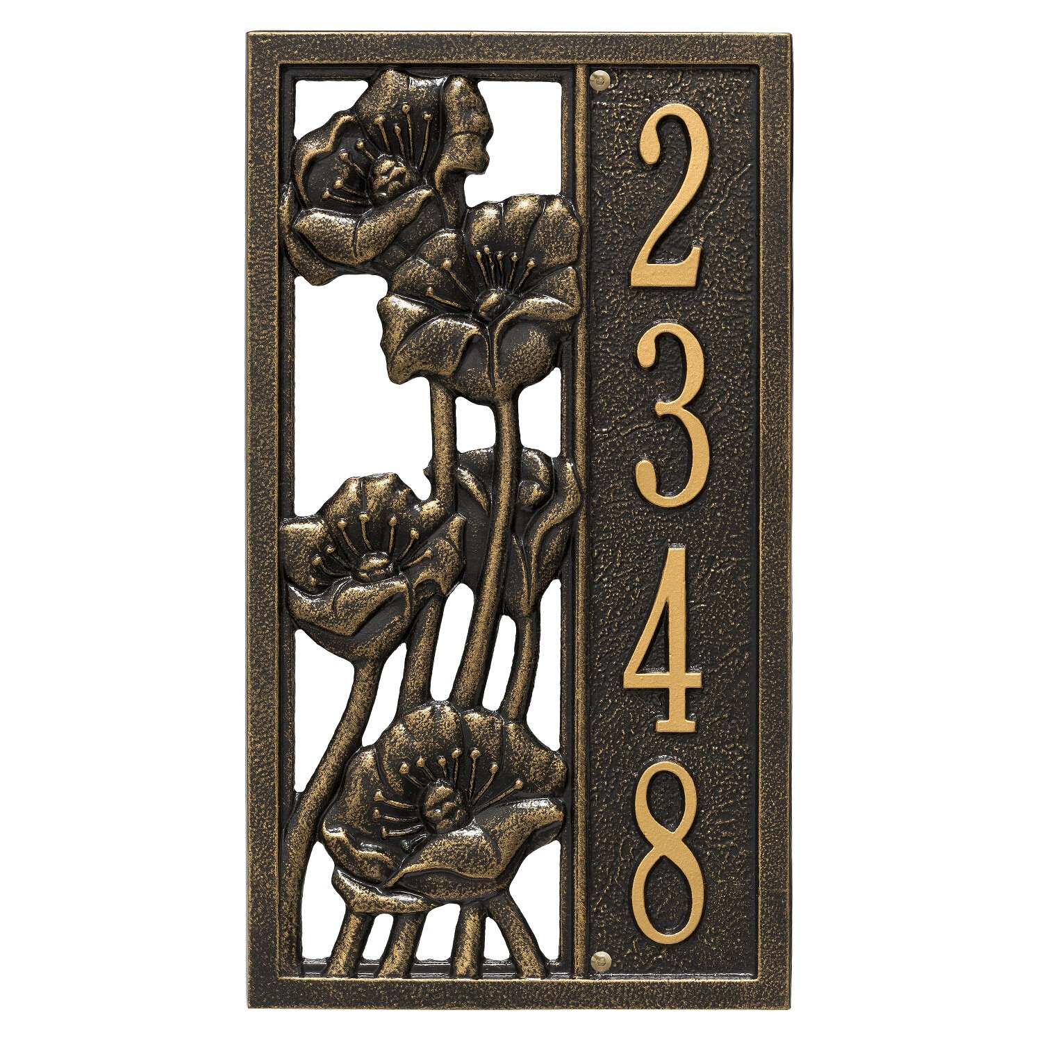 Custom Flowering Poppies VERTICAL Address Plaque 16''H x 9''W (1 Line)