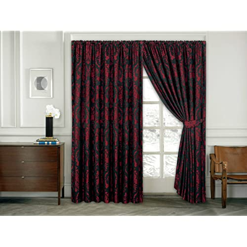 Imperial Rooms Windows Treatment Luxury Jacquard Pencil Pleat Fully Lined  Curtains Pair Of Ready Made (