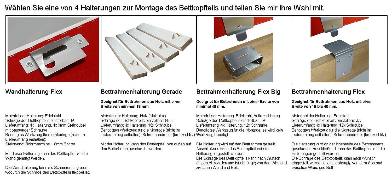 Bekolux Bettkopfteil GRAU Webstoff gepolstertes Kopfende (160 cm ...