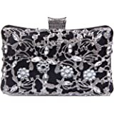 LUI SUI Evening Bag for Women, Crystal Beaded Evening Purses Rhinestone Crossbody Shoulder Clutch Bags Wedding Party Handbag