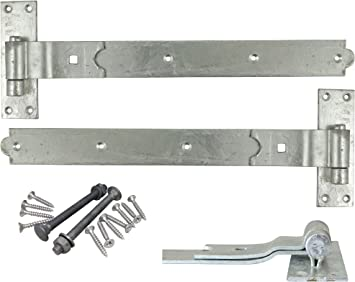 """Hook and band hinges heavy duty galvanised 24/"""" 2 pairs  with all fixings"""