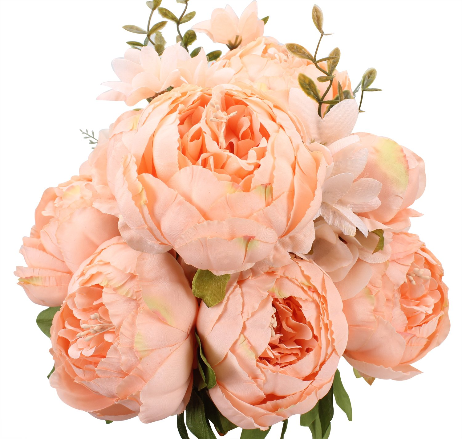 silk flower arrangements duovlo springs flowers artificial silk peony bouquets wedding home decoration,pack of 1 (spring orange-pink)