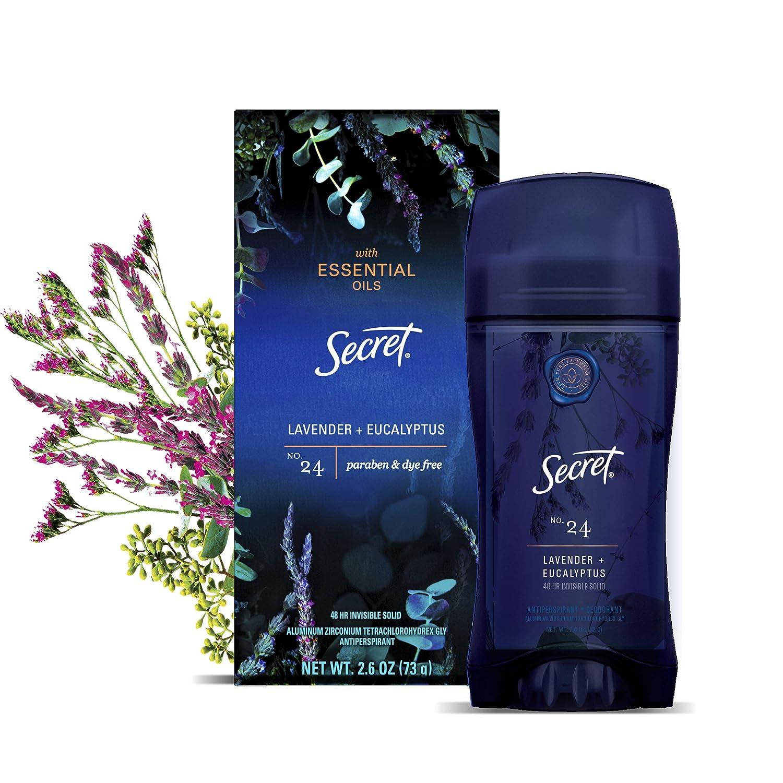 Secret Antiperspirant Deodorant for Women With Pure Essential Oils, Lavender & Eucalyptus Scent, 2.6 Oz