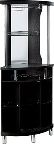 Home Source Corner Bar Unit, Black