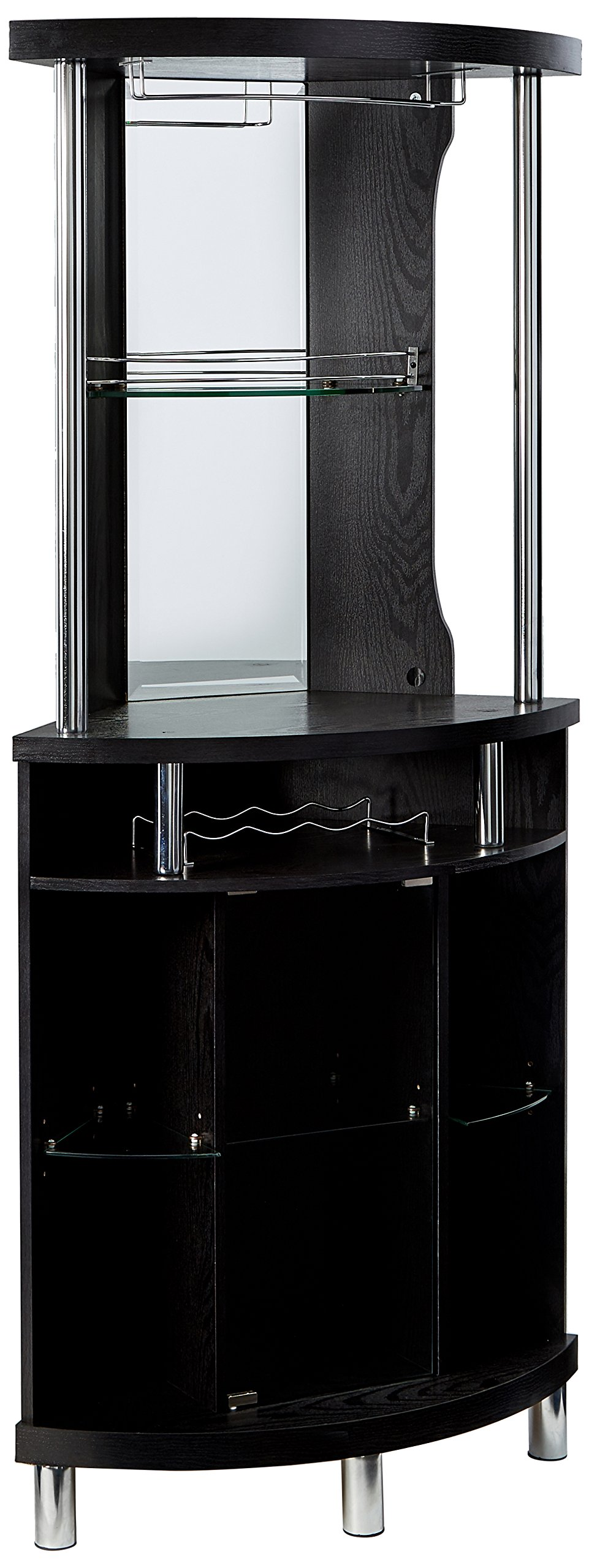 Home Source Corner Bar Unit, Black