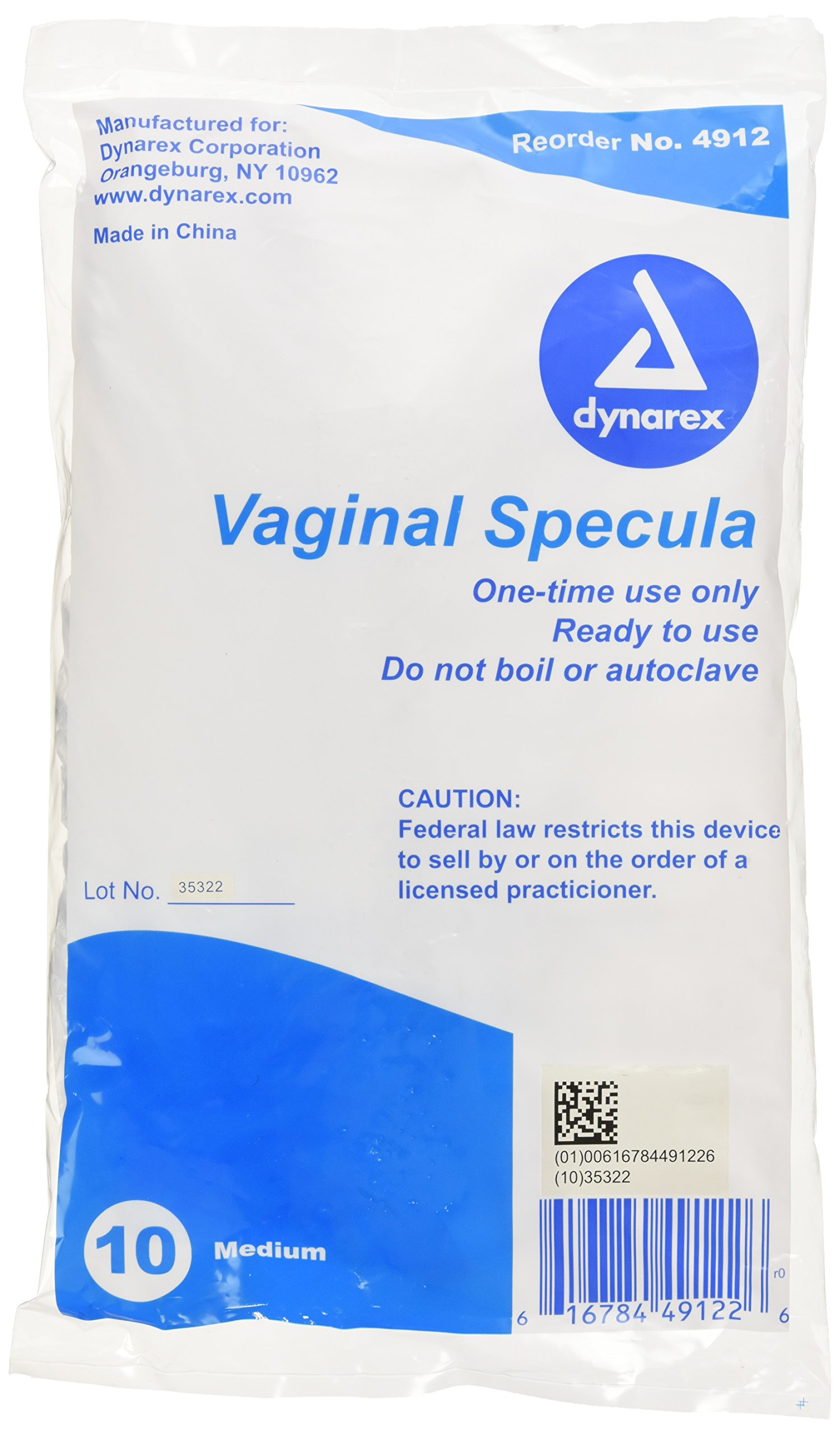 Dynarex Vaginal Specula Disposable, Medium, 10 Count (Pack of 10)
