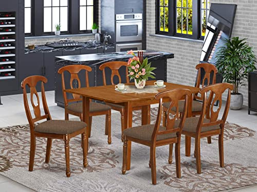 East West Furniture MLNA7-SBR-C 7-Piece Kitchen Dining Room Set 6 Dining Room Chairs and Dining Room Table Rectangular Table Top Napoleon Back and Linen Fabric Chair Seat Saddle Brown Finish