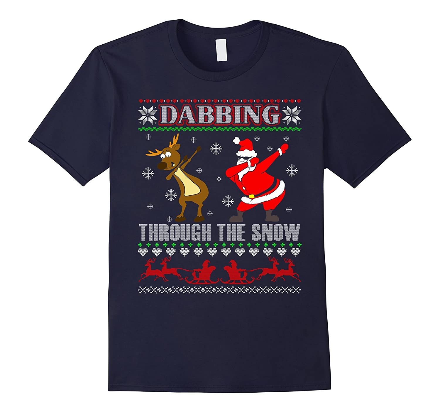 c666fde96 Dabbing Through The Snow Tshirt Funny Santa Reindeer Gifts-ANZ ...