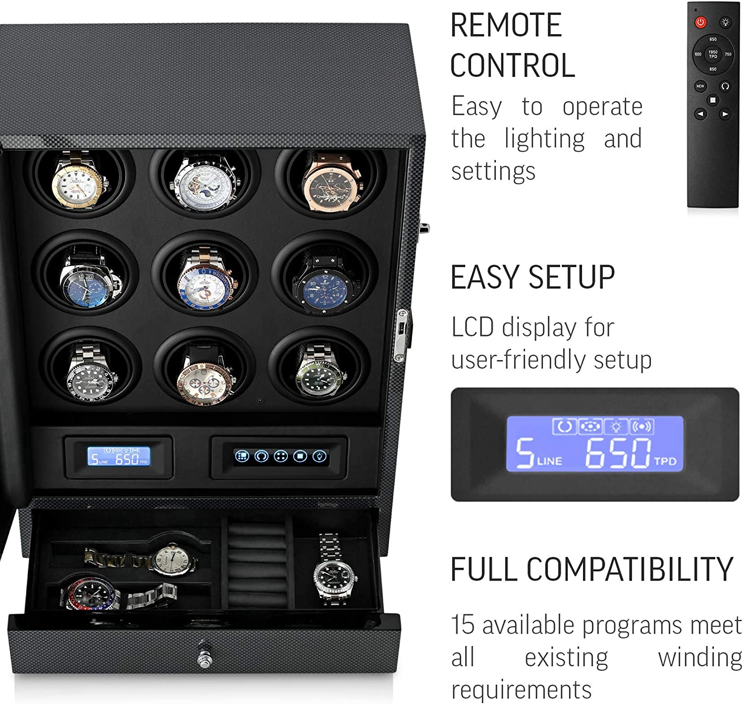9 Watch Winder with LED Backlight, Remote Control, LCD Display and 2 Watches Storage Compartment (Carbon + Black): Watches