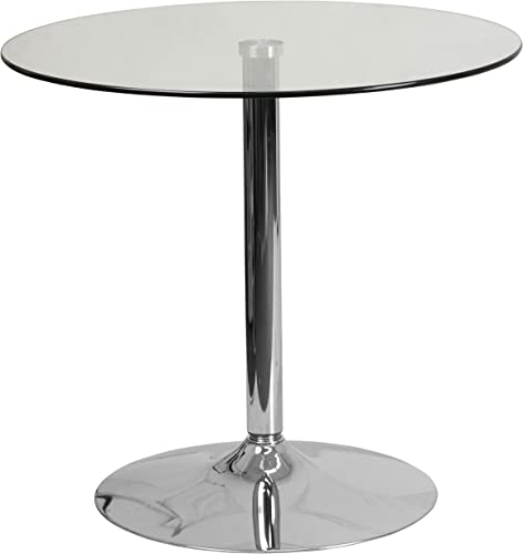 Flash Furniture 31.5 Round Glass Table with 29 H Chrome Base – CH-7-GG