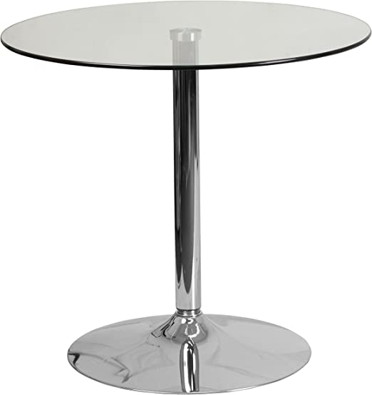 Flash Furniture 31 5 Inch Round Glass Table With 29 Inch Chrome