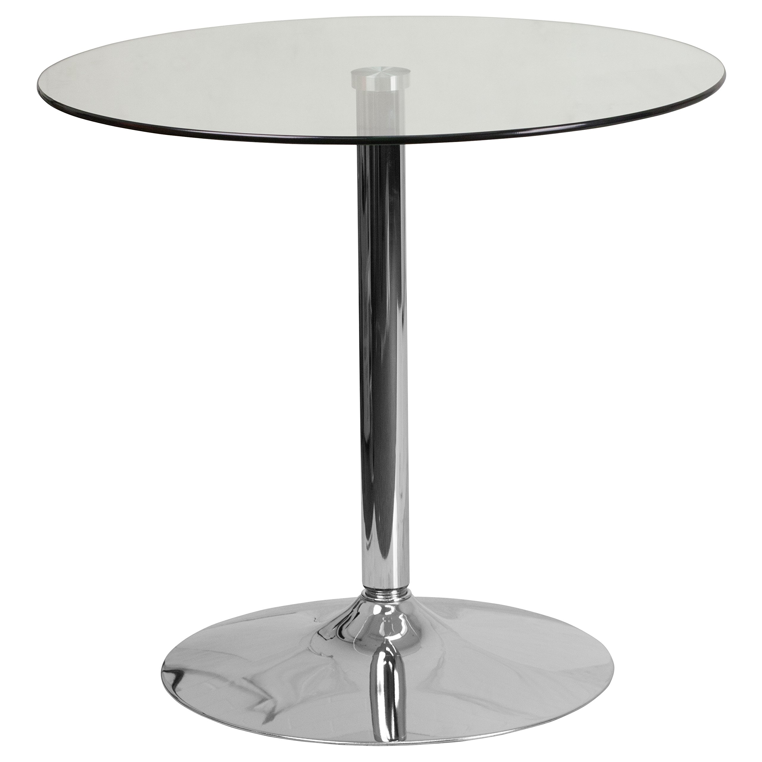 Flash Furniture 31.5'' Round Glass Table with 29''H Chrome Base by Flash Furniture