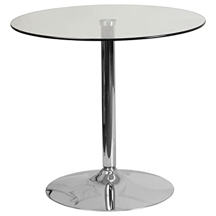 amazon com flash furniture 31 5 round glass table with 29 h rh amazon com round glass table top ikea round glass table lamp