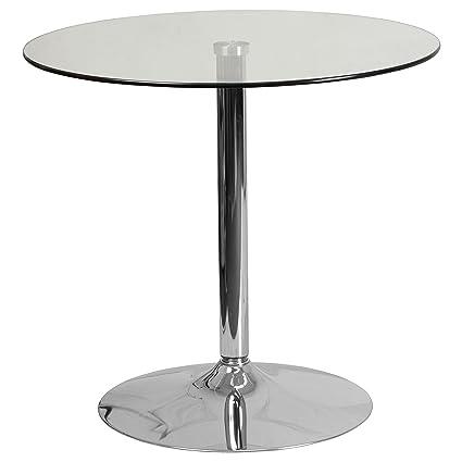 Gentil Flash Furniture 31.5u0027u0027 Round Glass Table With ...