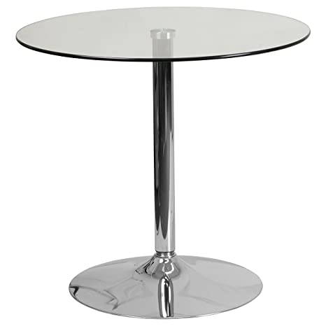 Glass Table Coffee Table.Flash Furniture 31 5 Round Glass Table With 29 H Chrome Base