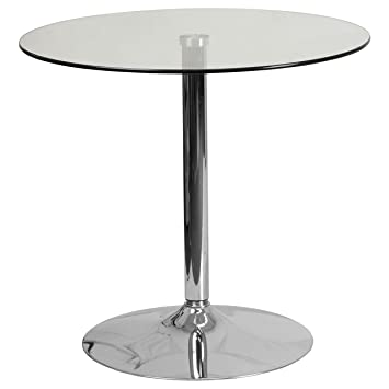 Flash Furniture 31.5u0027u0027 Round Glass Table With ...