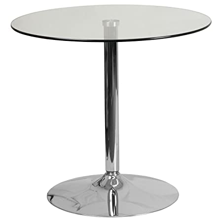 Flash Furniture 31.5 Round Glass Table with 29 H Chrome Base