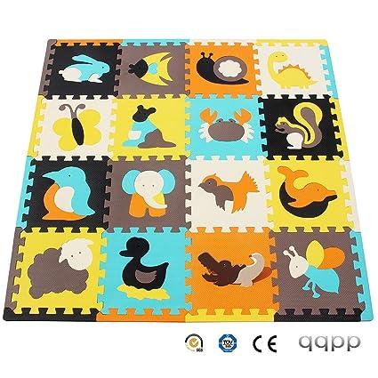 qqpp Puzzles de Suelo,Alfombra Puzzle de 16 Piezas | Animal (30*30*1.0CM) | Alfombrilla de Juego Infantil | Gomaespuma EVA | Lavable | Colores ...