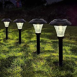 LAMTREE Solar Lights Garden Outdoor (Crystal) LED Solar Path Light Ground for Lawn Landscape Patio Yard Pathway Walkway Driveway Sideway (Warm White, 6 Packs) (Crystal)