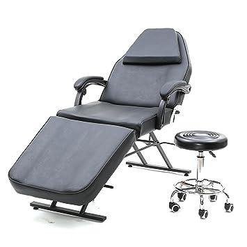 Adjustable Massage Bed Chair Beauty Spa Salon Barber Tattoo Chair W Swivel  Stool