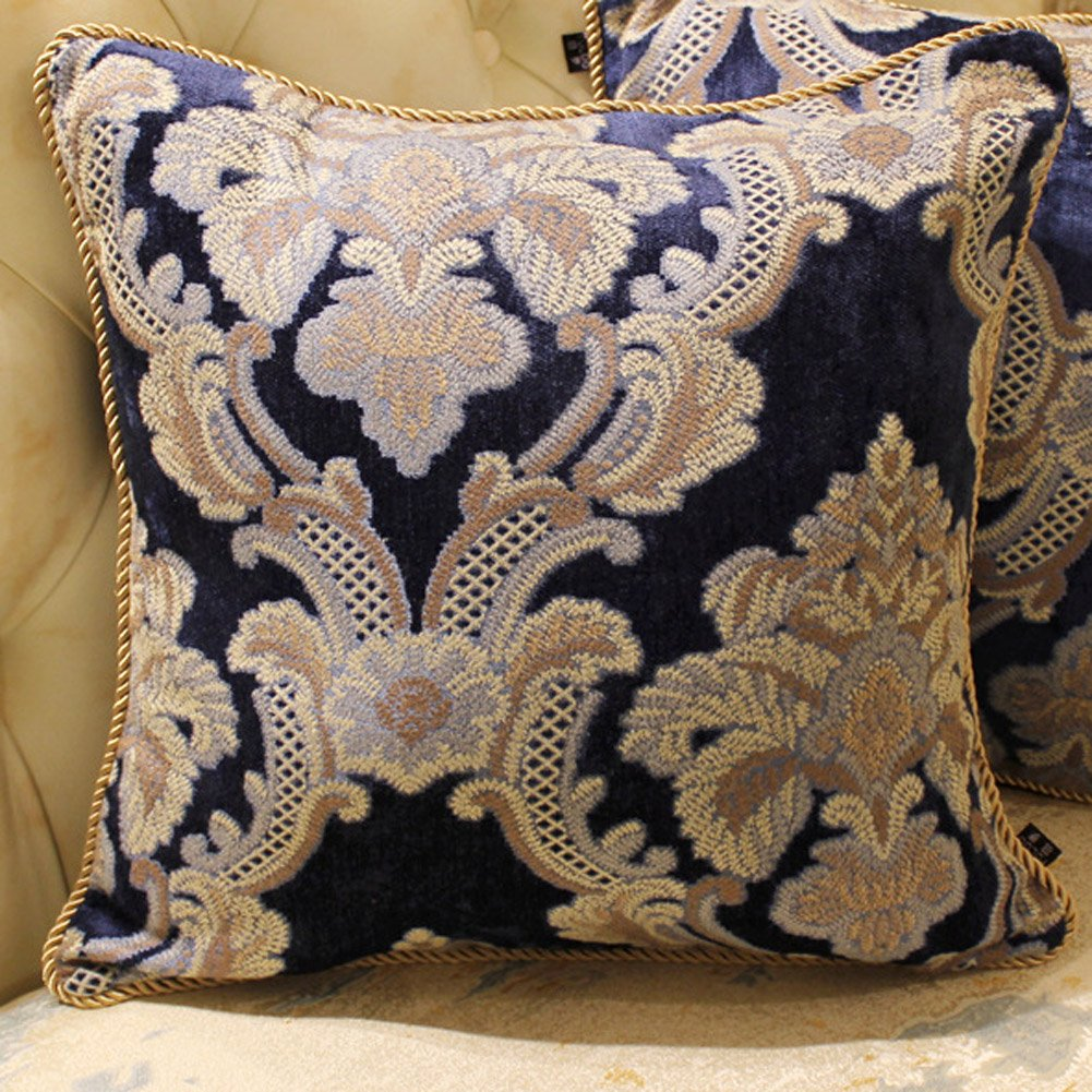 MeMoreCool Luxury European Chenille Court Pillow Covers No Filler Sofa/Car/Office/Hotel Decor Pillow Cover Navy 18 X 18 Inch