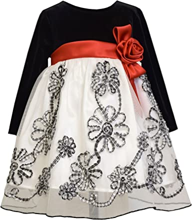 Bonnie Jean Girls Baby Christmas Stretch Velvet with Bonaz Mesh Skirt Dress new