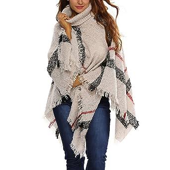 135146d8a439 JLTPH Poncho Pull Cape Laine Femme Col Roulé Mélange de Laine Tricot Tartan  Blanket Châle Chaud Vintage Epaisse Etole Echarpe Pashmina Grosse Maille  épais ...